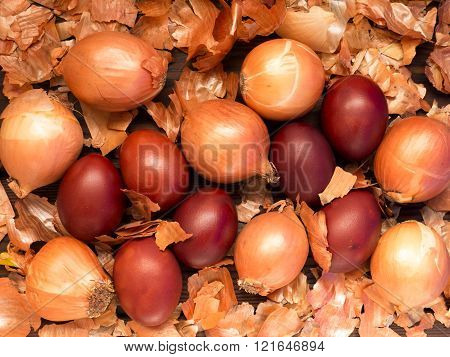 Red Colored Easter Eggs