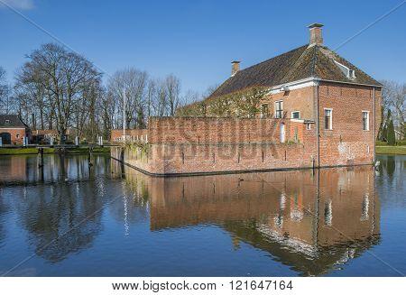 Side View Of Old Dutch Mansion Verhildersum Near Leens