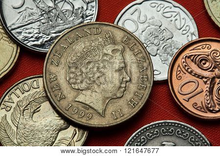 Coins of New Zealand. Queen Elizabeth II depicted in the New Zealand two dollars coin.