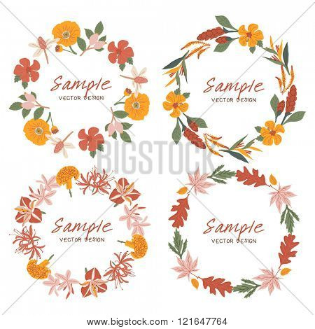 Vector Floral Frame Collection. Set Of Floral Wreaths illustration