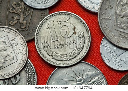 Coins of Communist Mongolia. Mongolian 15 mongo coin (1981) coined in the Mongolian People's Republic.