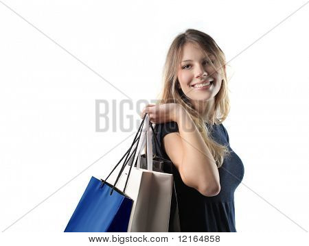 Smiling beautiful woman doing shopping
