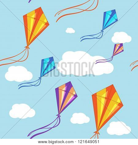 Seamless vector background with colorful kites in the blue sky. Seamless pattern, background, vector