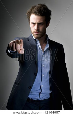 Angry businessman accusing someone