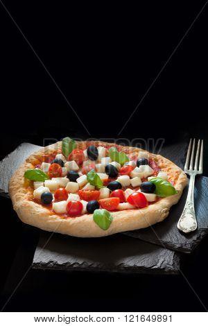 Pizza Mozzarella Tomatoes Basil