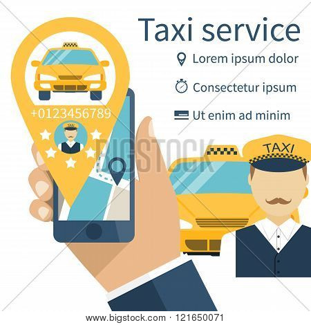 Mobile Phone In Hand With The App For An Order Of A Taxi Service