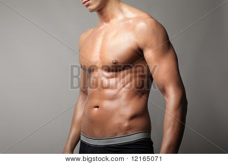 Closeup of a brawny man's chest