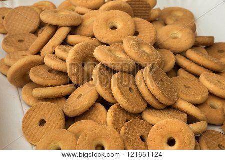 Group of Butter Biscuits Round Shape, Shortbread