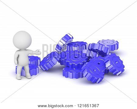 3D Character Showing Pile Of Gears