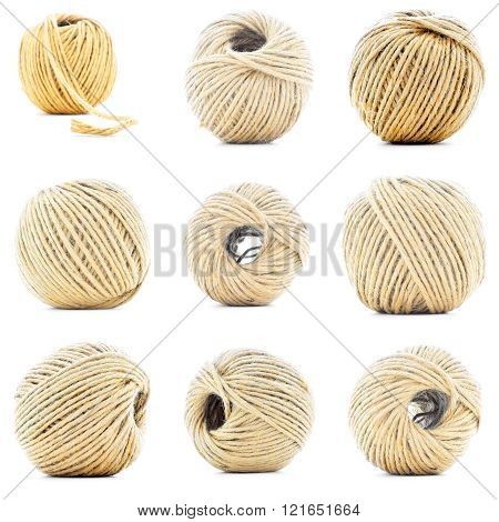Natural Rope Skein, Hemp Roll Collection Isolated On White Background