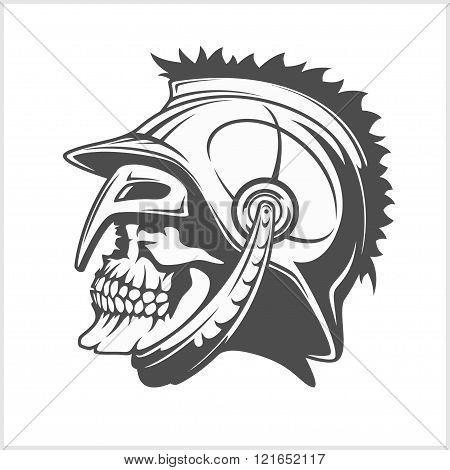 Skull Roman legionary -  skull in  helmet.