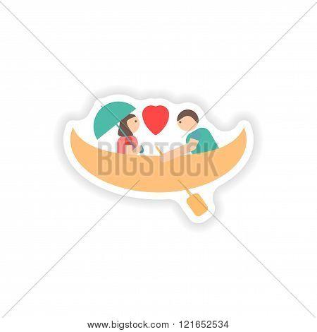 stylish paper sticker on white background love boat