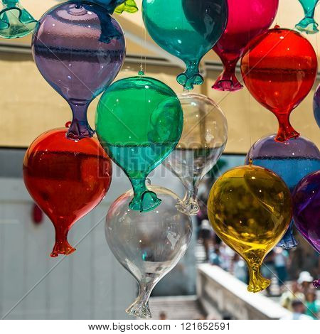 VENEZIA, ITALY -MAY 2015: Multicolored Glass Balloons Made in Murano Venice - Italy