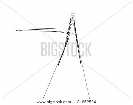 Hand drawn bridge, vector illustration
