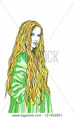 Blond long hair woman lady in old fashion dress