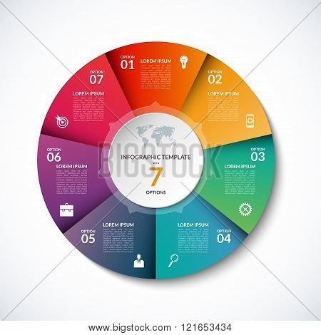 Vector infographic circle template with 7 steps, parts, options