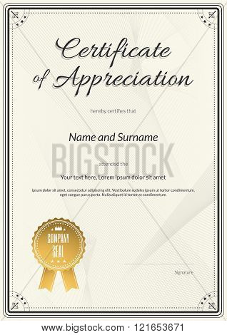 Certificate of appreciation template in vector for achievement graduation