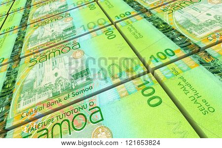 Samoan tala bills stacks background. Computer generated 3D photo rendering