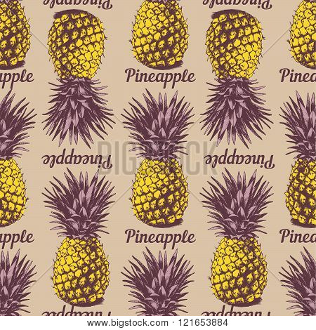 Seamless Background with hand drawn pineapples in retro style coloring