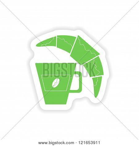 paper sticker on white background coffee cup croissant