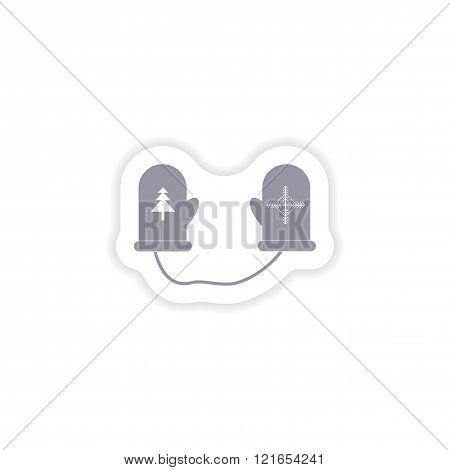 paper sticker on white background mittens warm