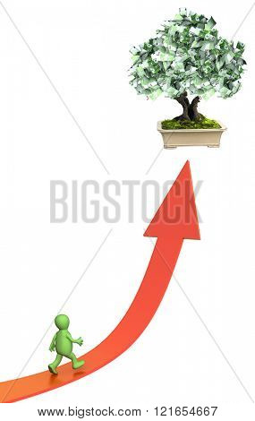 3d money tree with euro banknotes and bound arrow of red color. Isolated on white background