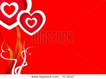 Red Background With Love Hearts