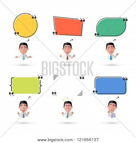 Variety of Emotions Man with Speech Bubble