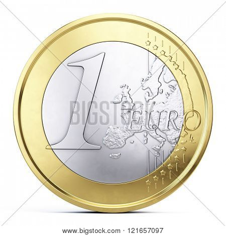 One euro coin isolated on white - front view