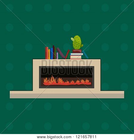 Vector illustration of fire in fireplace, flat style.