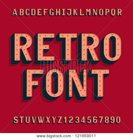 Retro bulb style alphabet vector font. Letters and numbers.