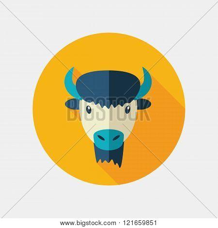 Bison Buffalo Ox Flat Icon. Animal Head Vector