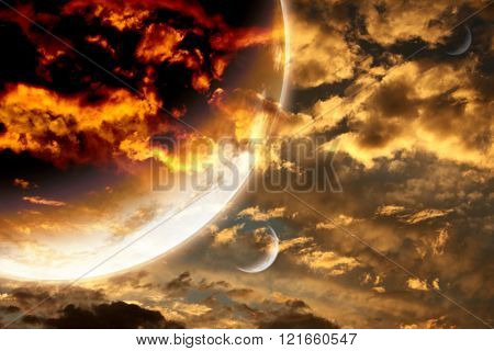 Sunset in storm sky and alien planet. Elements of this image furnished by NASA