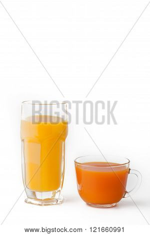 Glasses of juice on the white background