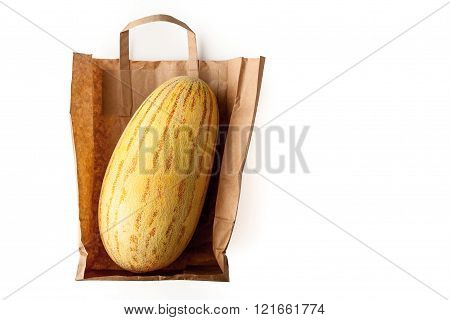 Melon inside a paper bag top view