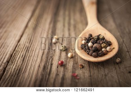 Pepper mix on the wooden spoon horizontal