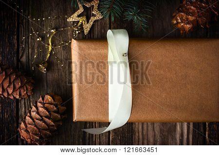 Homemade gift with Christmas fir tree and cone horizontal