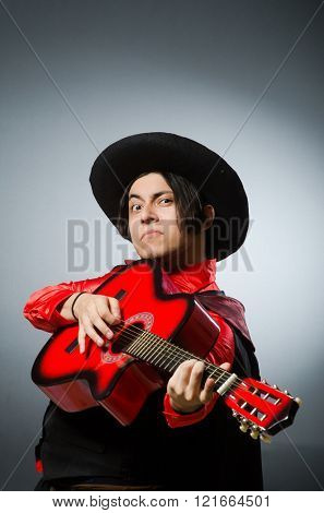 Man playing guitar in romantic concept