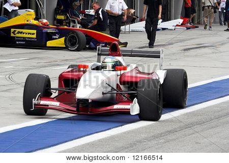 out of the pit lane
