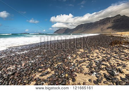 Coast Of Famara Beach, Lanzarote Island, Canary Islands, Spain