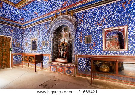 BIKANER INDIA - MAR 4: Blue painted walls with patterns inside the, 16th century Junagarh Fort on March 4, 2015. The 5.28 hectares large Junagarh fort precinct is studded with palaces and temples