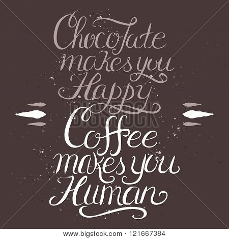 Coffee hand drawn typography poster.