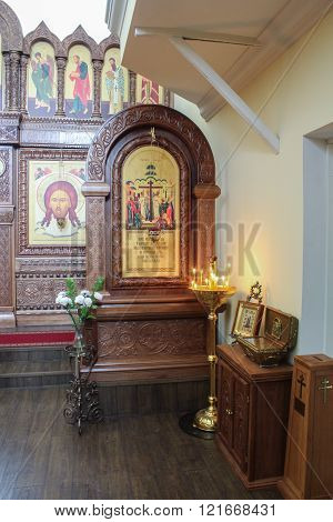 Staraya Ladoga, Russia - 23 February, The interior of the church nunnery, 23 February 2016. Tourist places in the great ancient route from the Vikings to the Greeks.Staroladozhsky Holy Assumption nunnery. Gold ring of Russia.