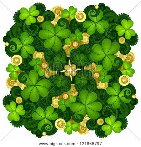 Vector  Hand Drawn Ornament With Decorative Clover And Gold Coins
