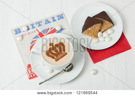 Coffee Decorated With Queen Crown. British Symbol Paper Napkin.