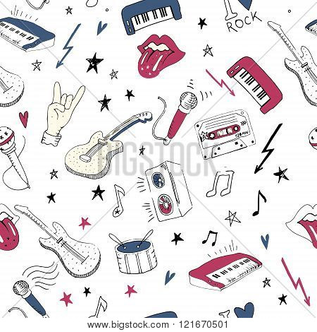 Music Symbols. Seamless Pattern. Rock Music Background Textures,