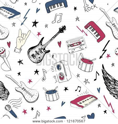 Music Symbols. Seamless Pattern. Rock Music Background Textures