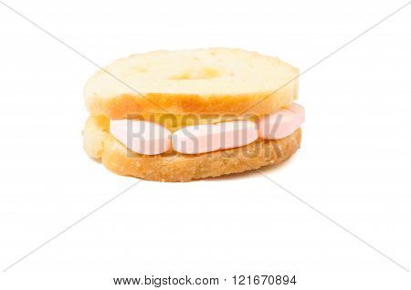 Pills sandwich concept isolated on white background