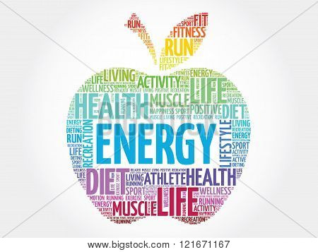 Colorful Energy apple word cloud concept, presentation background