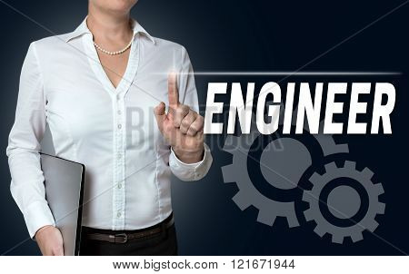 Engineer Touchscreen Is Served By Businesswoman